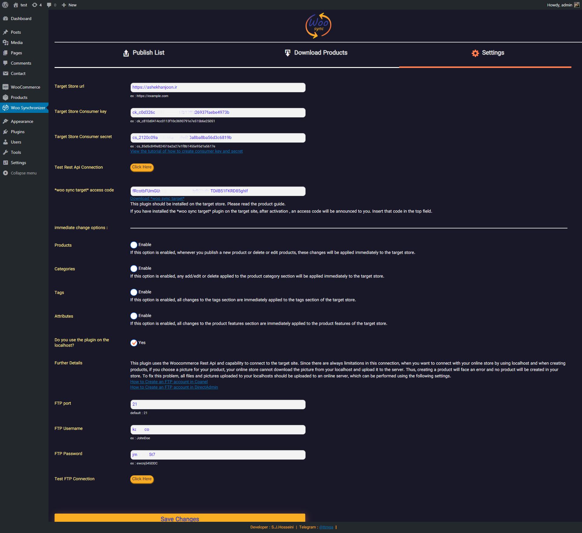 Plugin setting page