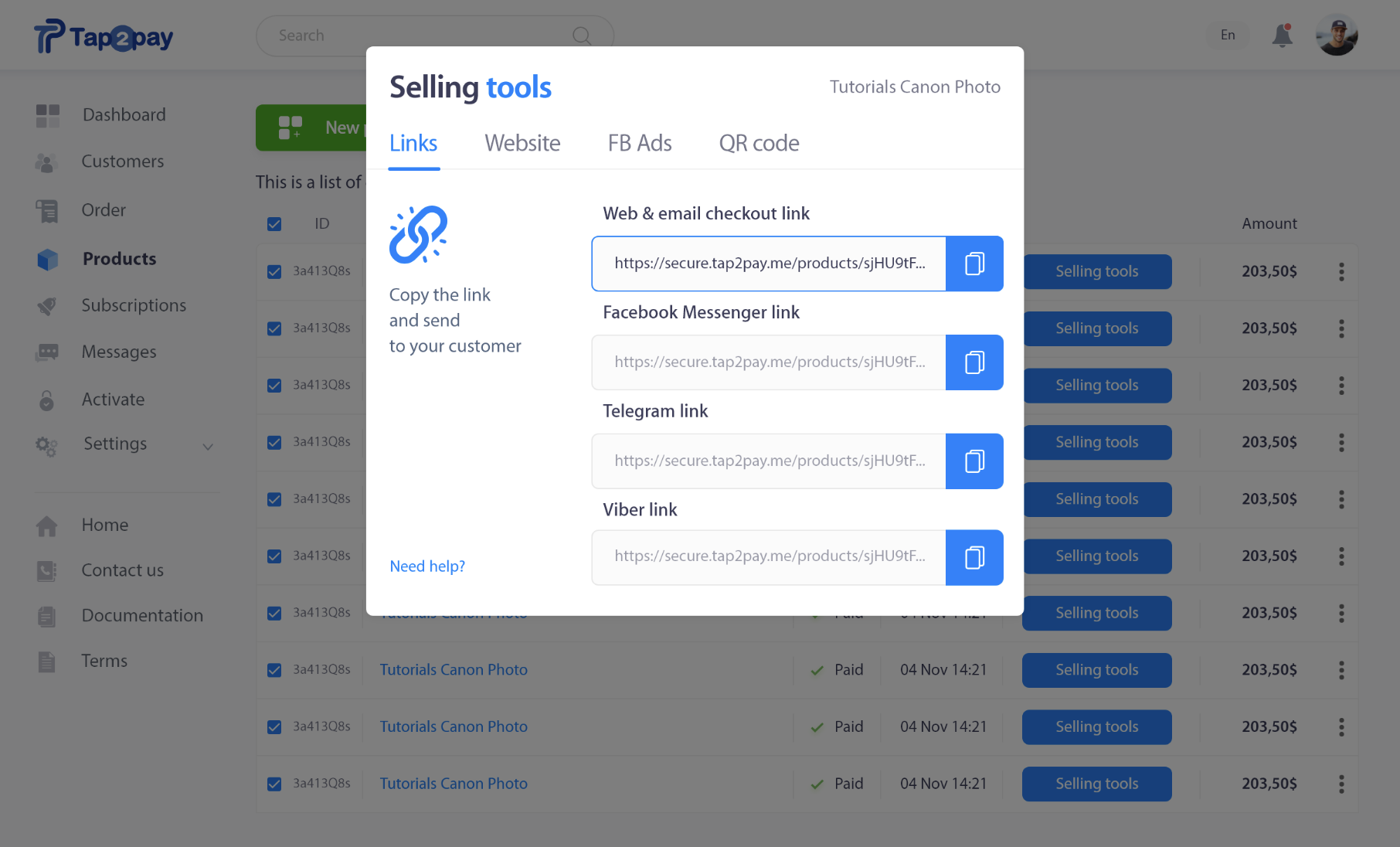 Screenshot Tap2Pay Selling Tools. You can sell by website, social networks, messengers, QR-codes, advertising