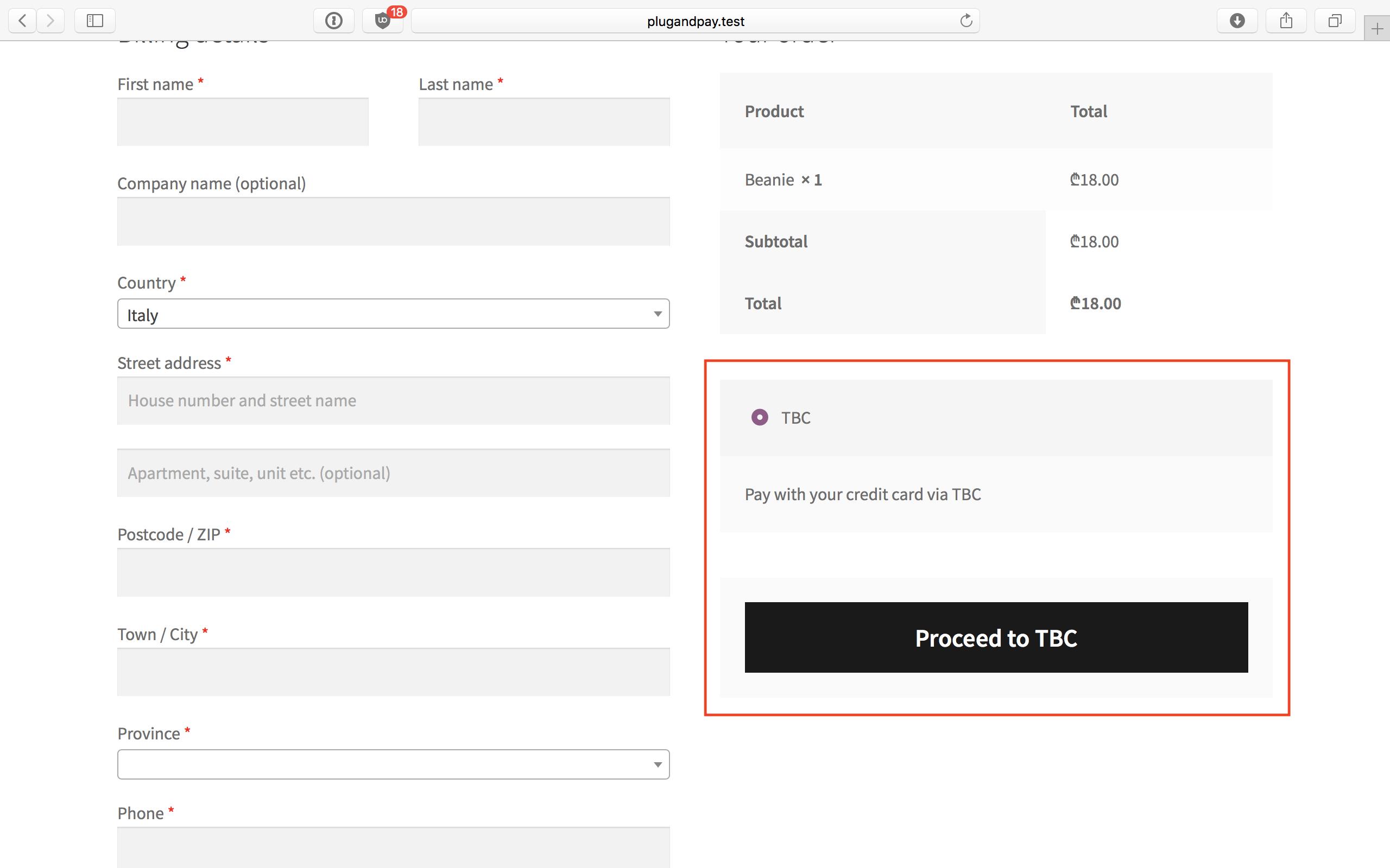 WooCommerce TBC Credit Card Payment Gateway (Free)