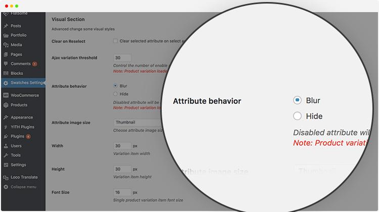 Attribute Variation Display Behavior