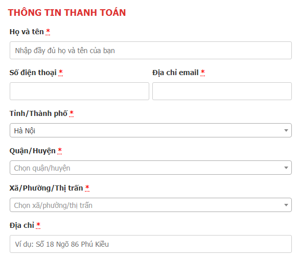 Giao diện Form Checkout.