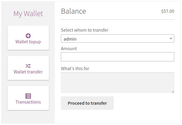 Transfer wallet balance.