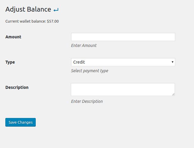 Admin adjust wallet balance.