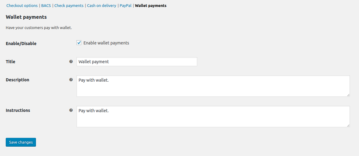 WooCommerce wallet payment gateway.