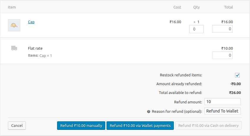 WooCommerce refund.