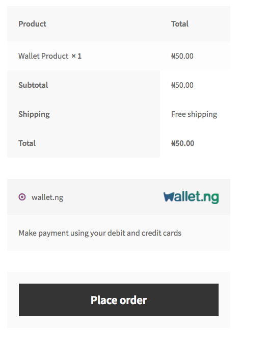 <p>wallet.ng WooCommerce payment gateway on the checkout page</p>