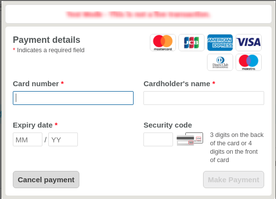 Hosted worldpay payment form on checkout page