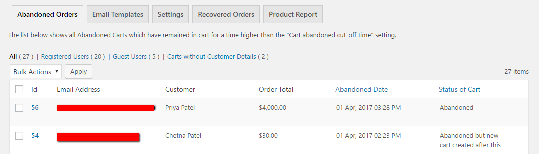 woocommerce-abandoned-cart screenshot 1
