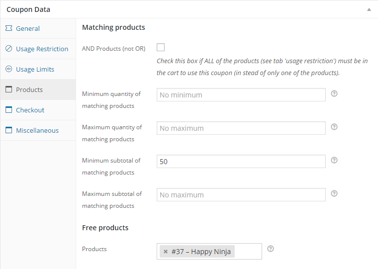 Extra restrictions. E.g. Quantity or subtotal of matching products.