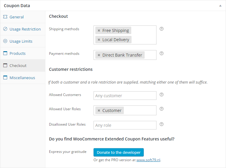 Additional restrictions based on shipping or payment method or the customer