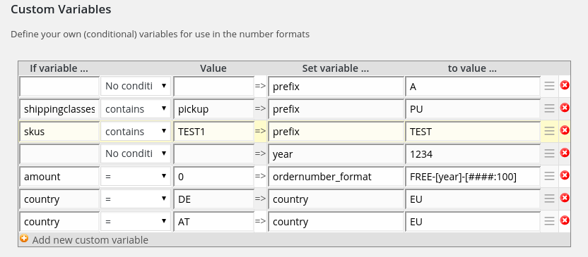 Custom variable definitions in the advanced (paid) plugin.