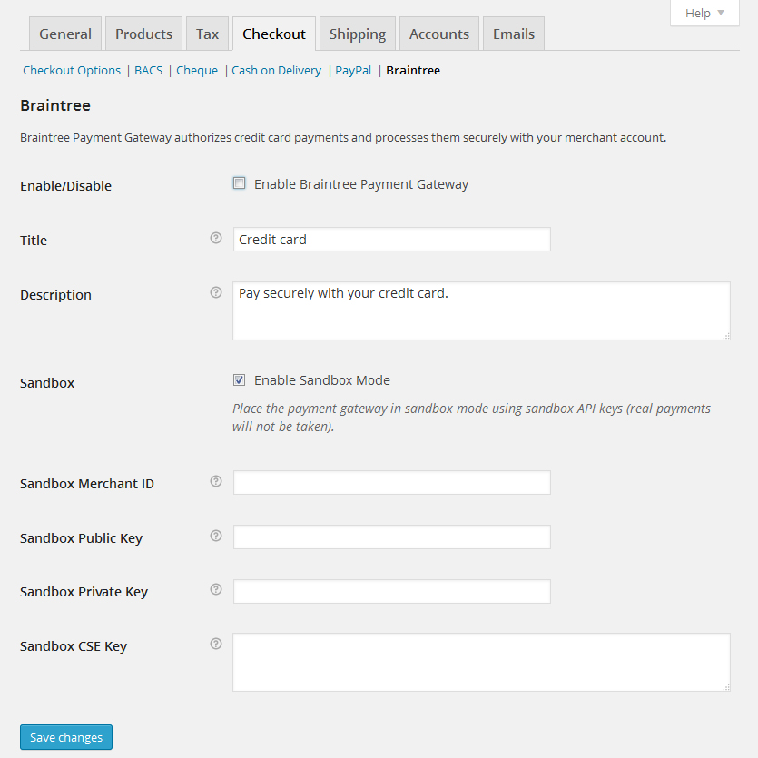 Configuration page with options for the Plugin.