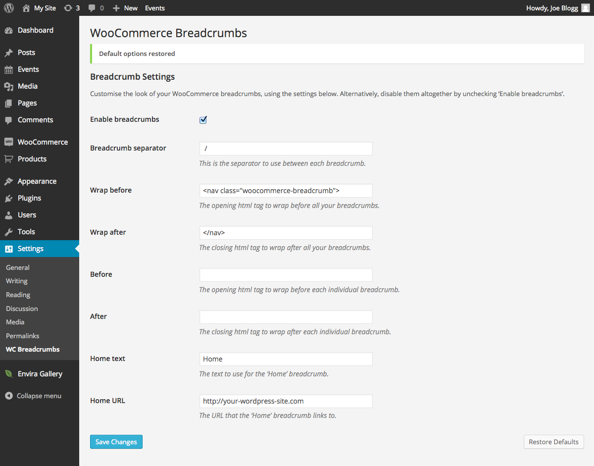 woocommerce-breadcrumbs screenshot 1