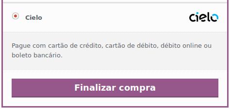 Exemplo do método de pagamento na página de finalização do pedido.