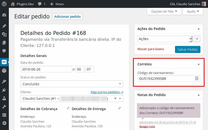 1f15c1ea29eb Campo para adicionar o código de rastreamento (tela de administração de  pedidos).