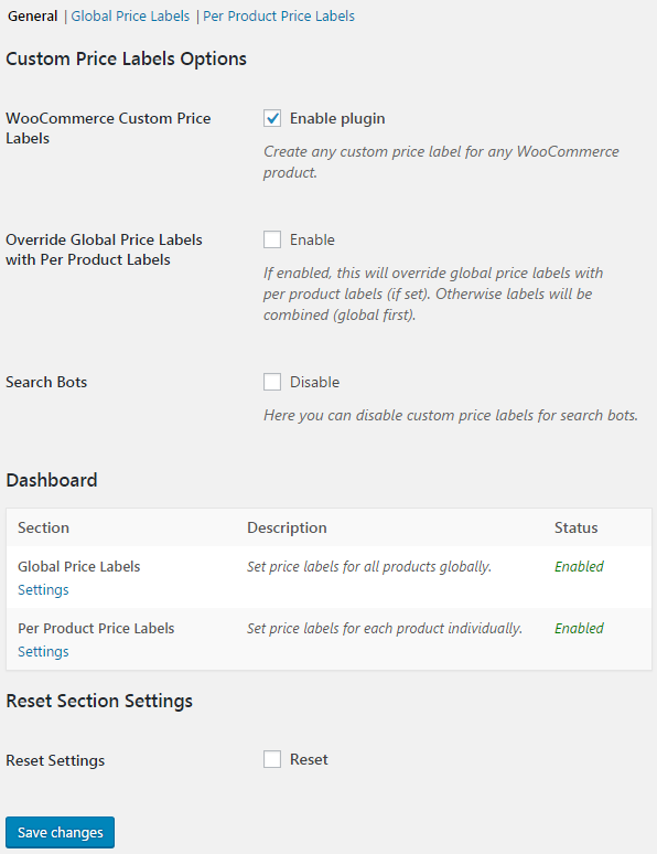 Custom Price Labels for WooCommerce - General Dashboard.