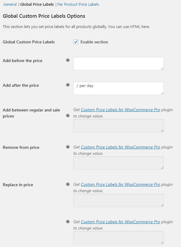 Custom Price Labels for WooCommerce - Global Labels (all products).