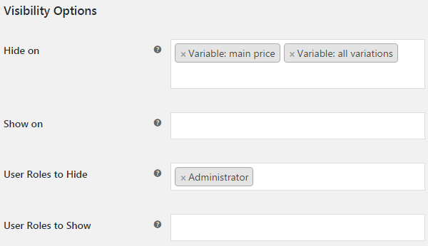 Custom Price Labels for WooCommerce - Global Labels - Visibility Options.