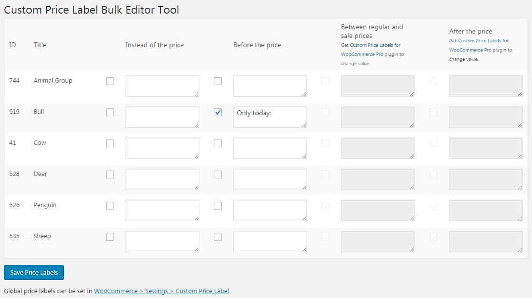 Custom Price Labels for WooCommerce - Per Product Labels - Custom Price Label Bulk Editor Tool.