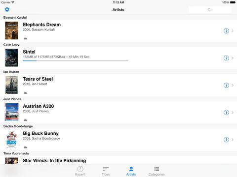 iPad content overview - list mode (landscape)