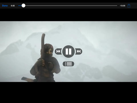 iPad during video play with DVD navigation (landscape)