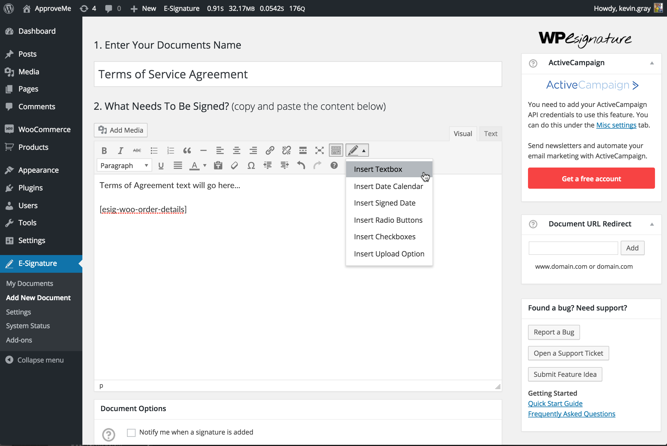 <strong>Add Document Details:</strong> Creating a Stand Alone Document for WooCommerce Digital Signature is incredibly easy. You can even use the shortcode [esig-woo-order-details] to pass order details into your WordPress contract.