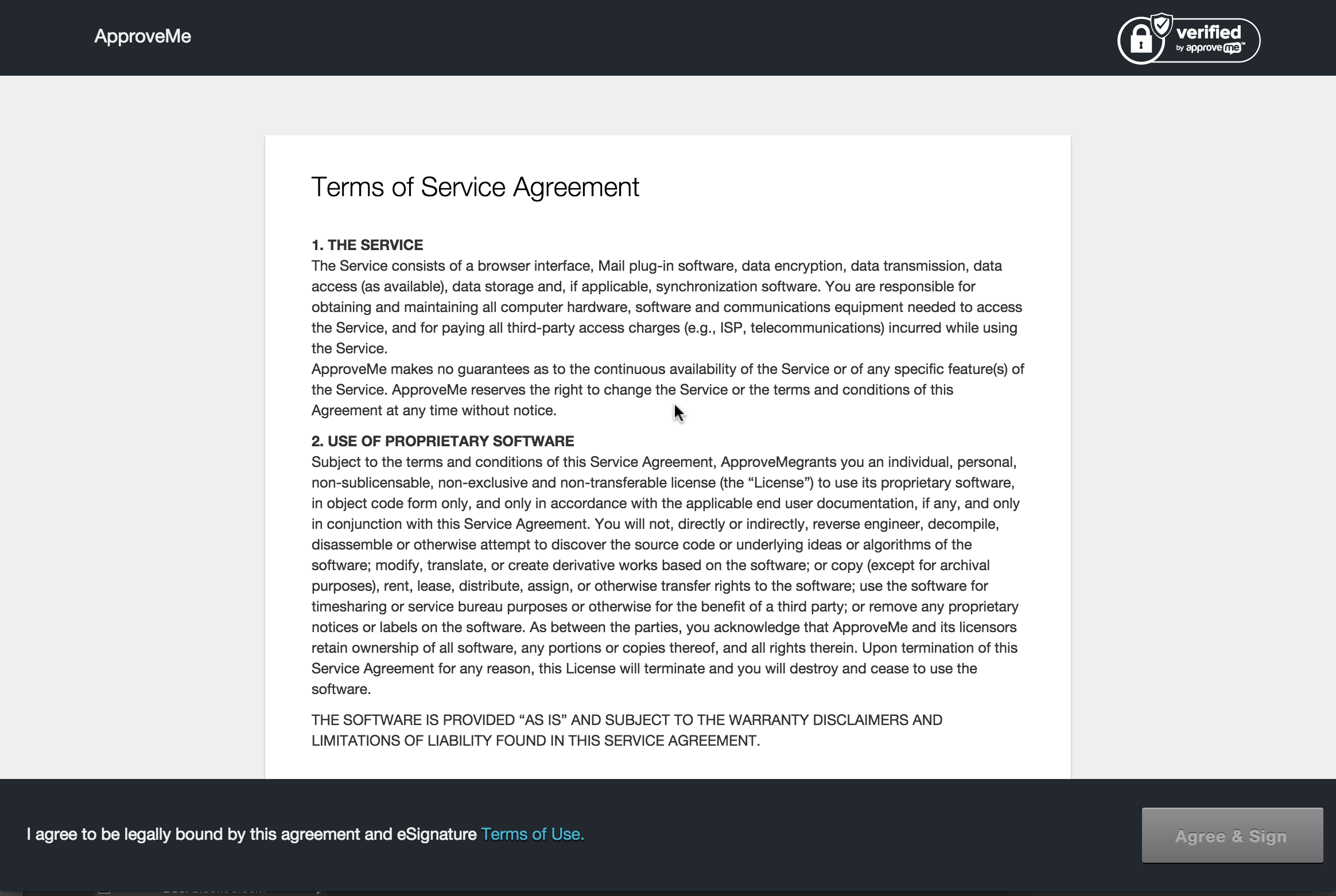 <strong>Redirected to Stand Alone Document:</strong> This is what the document signing page looks like (you can also add your logo to the document and add your company name using the Upload Logo and Branding Add-on by ApproveMe (which comes with the business license).