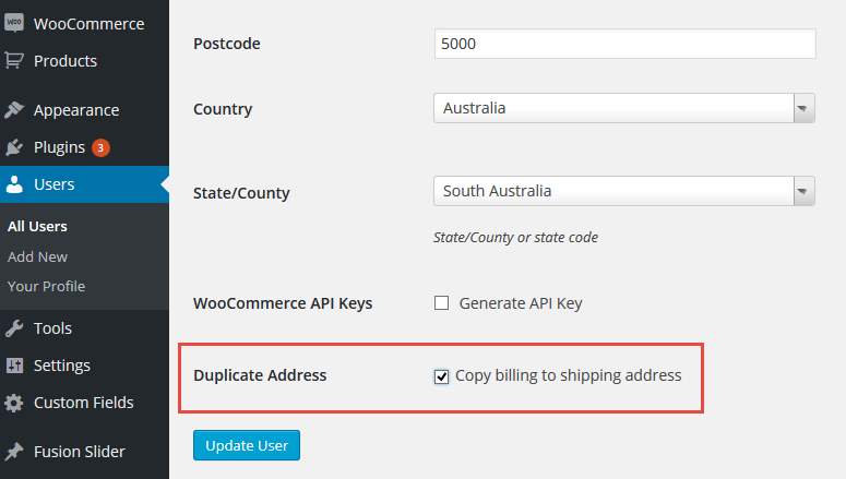 This is where the checkbox for duplicating the address is located