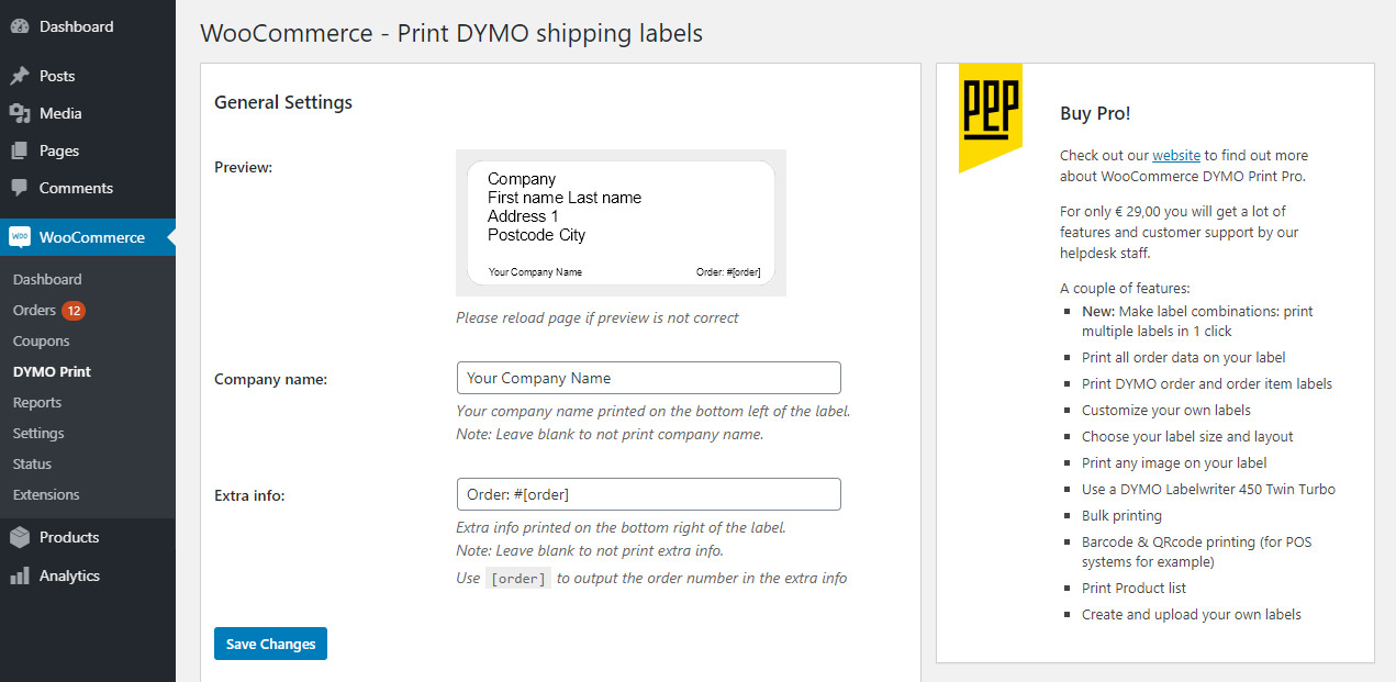 woocommerce-dymo-print screenshot 1