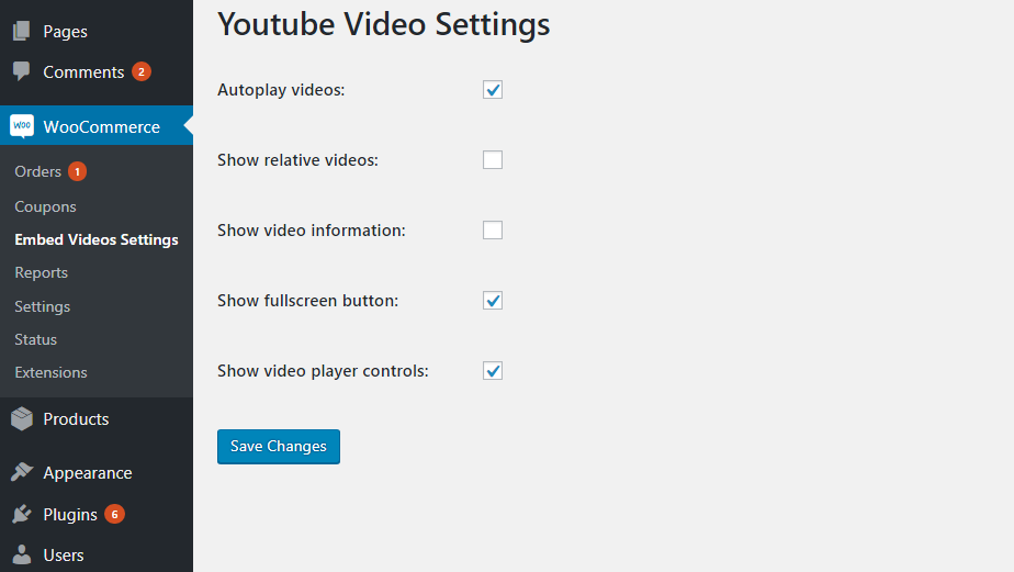 Screenshot 'screenshot-4.png' shows settings page of Youtube video parameters.