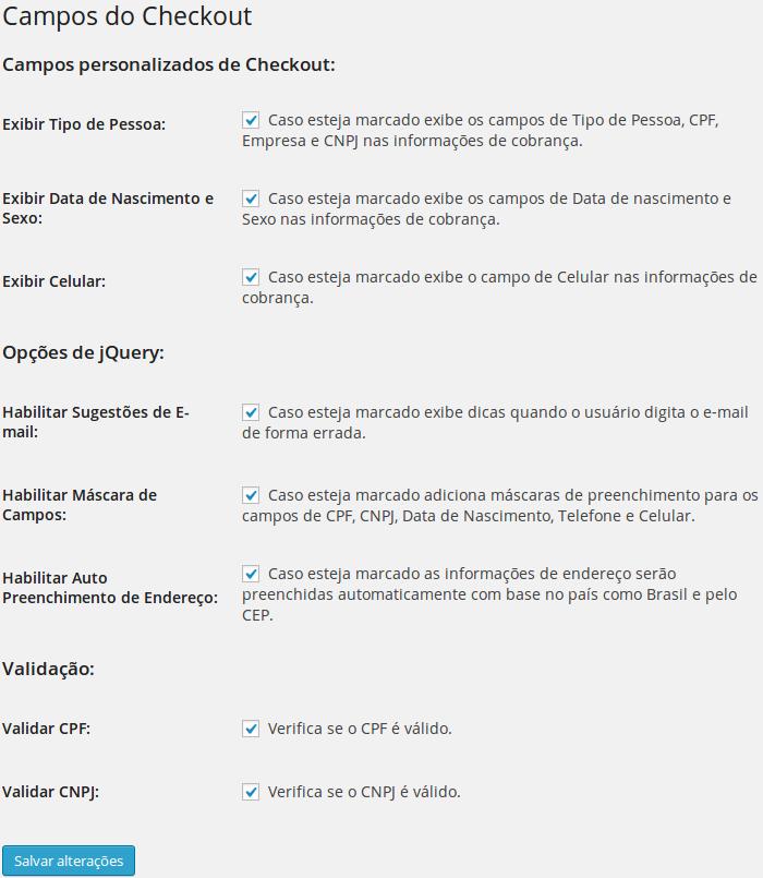 Configurações do plugin
