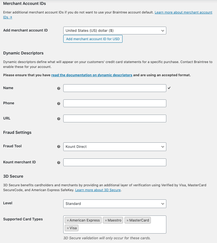 Advanced credit card gateway settings