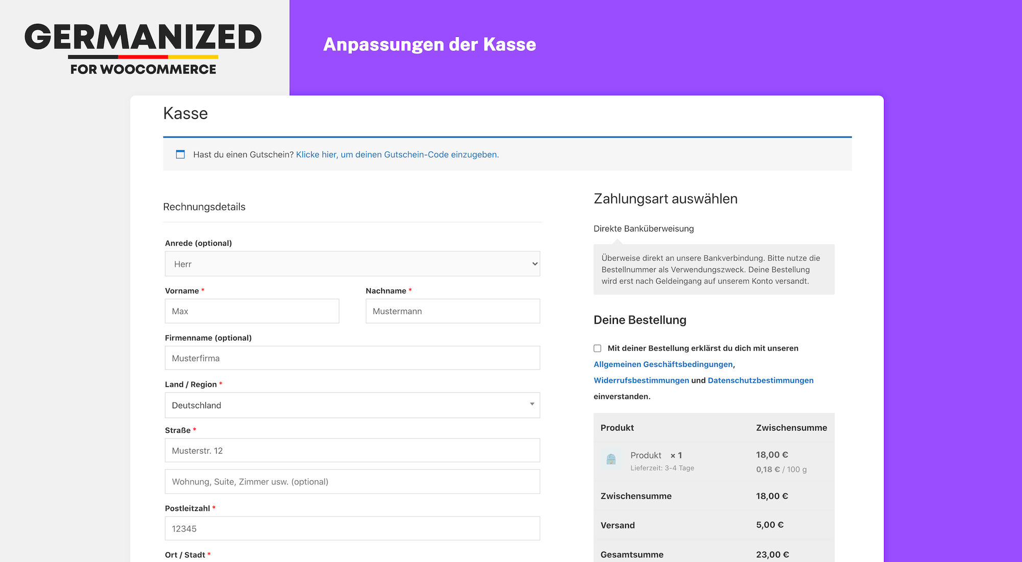 Some of WooCommerce Germanized checkout adjustments to comply with the button solution