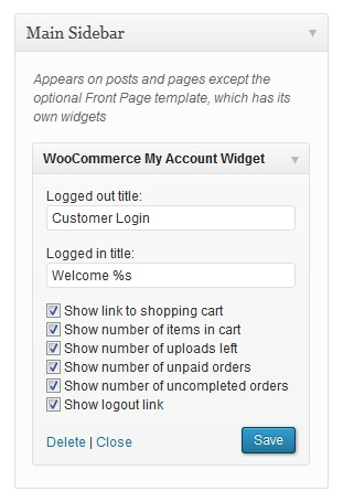 woocommerce-my-account-widget screenshot 1