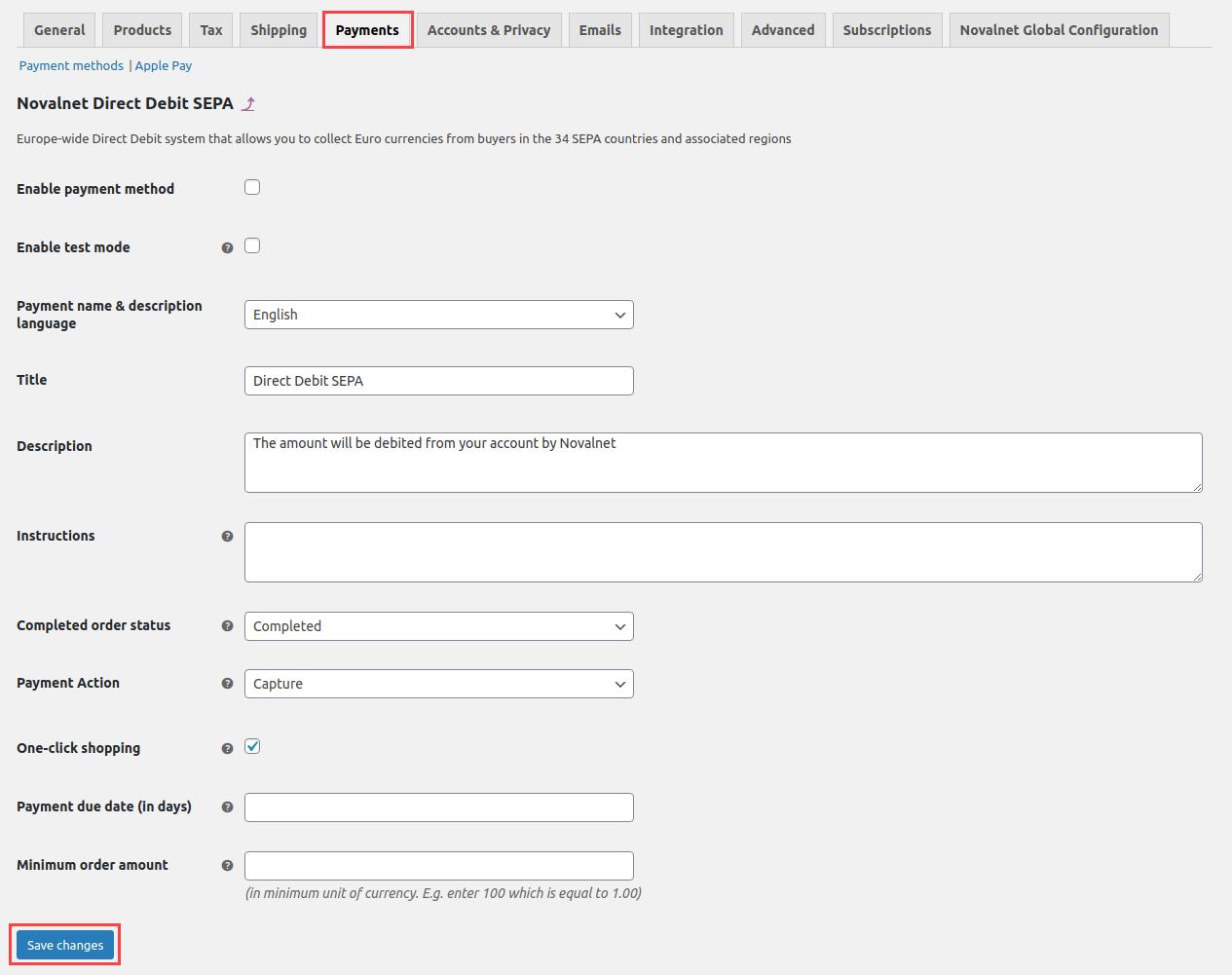 Novalnet individual payment (Direct Debit SEPA) configuration
