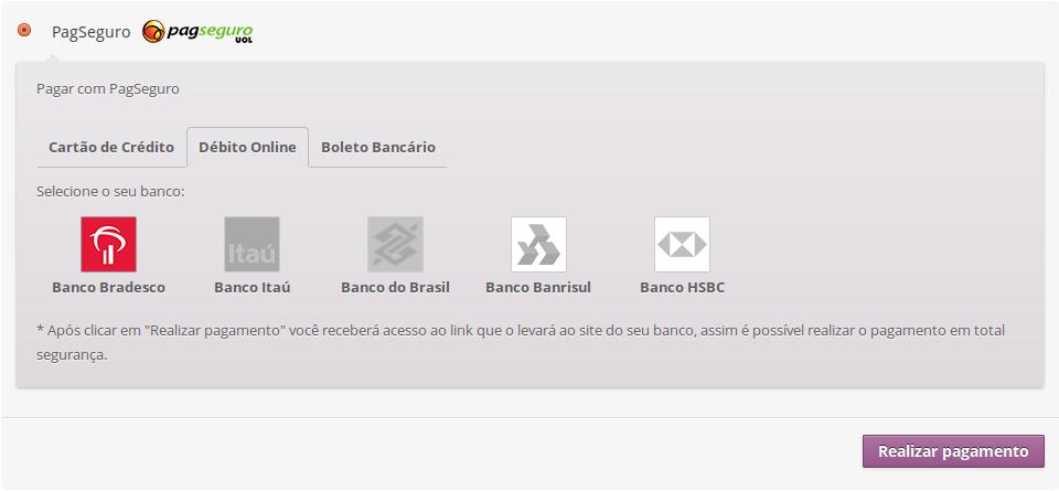 Pagamento com debito online usando o Checkout Transparente.
