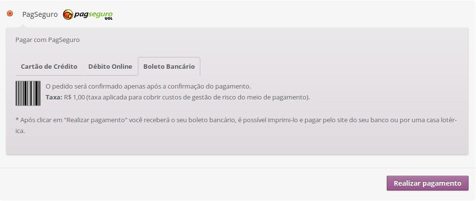 Pagamento com boleto bancário usando o Checkout Transparente.