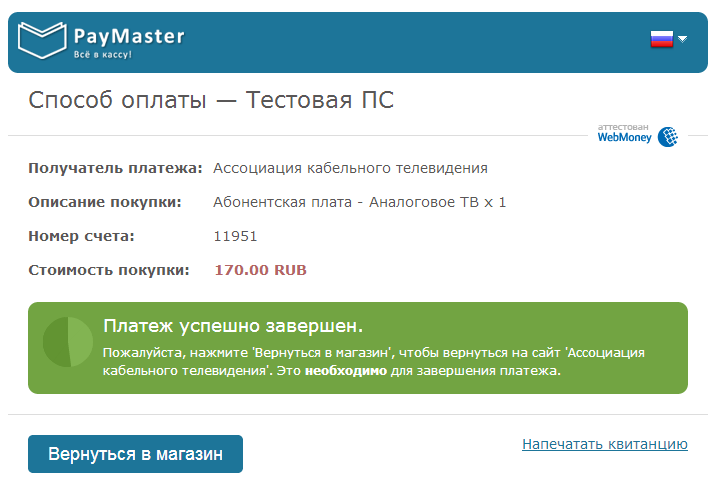 После оплаты для завершения платежа система переведен вас на страницу результата.
