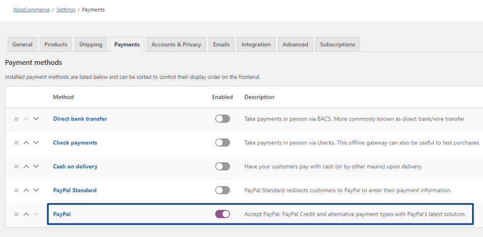 """Enable """"PayPal"""" on the Payment methods tab in WooCommerce."""
