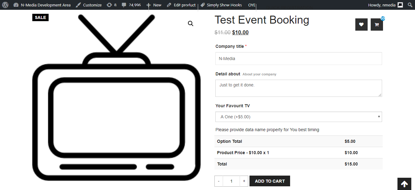 Showing inputs on front end product