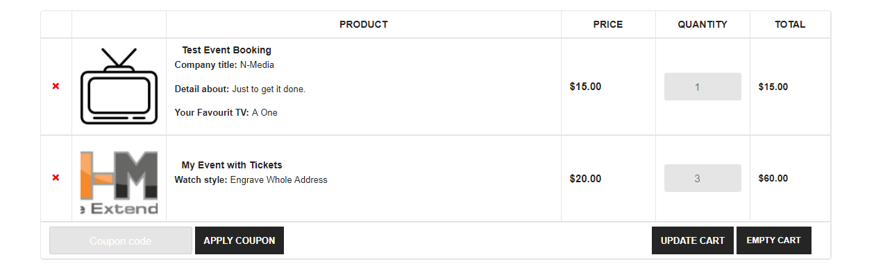 Inputs attached to cart item