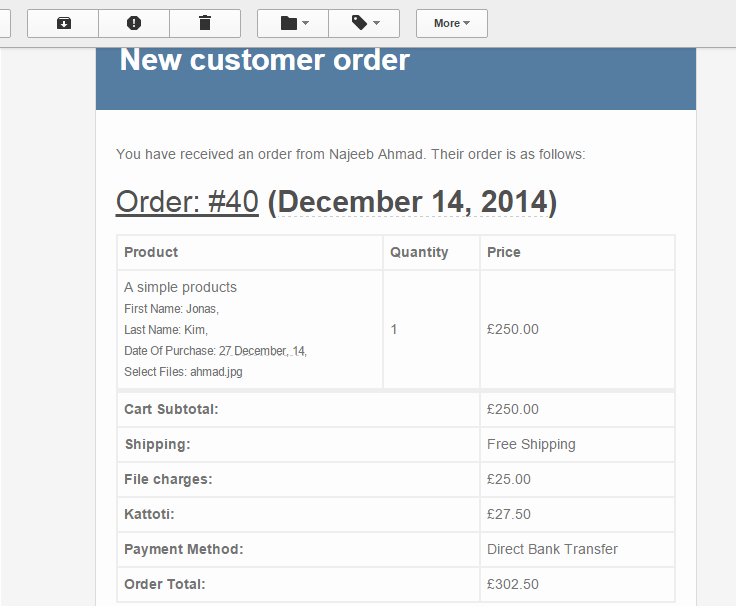 Inputs attached with order invoice