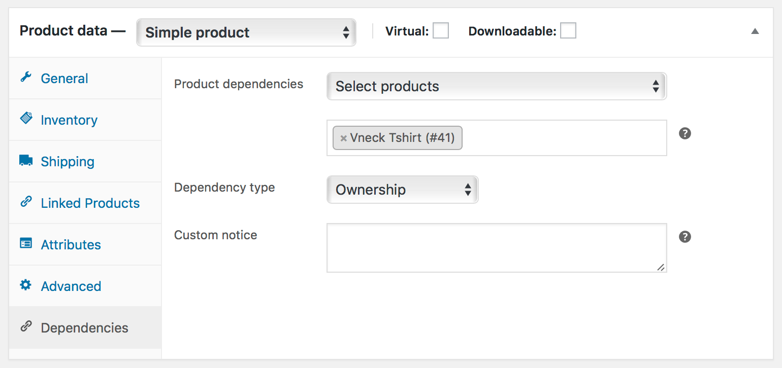 Product dependencies can be created from the Dependencies tab, found under Product Data, and adding products/variations to the Product Dependencies field.