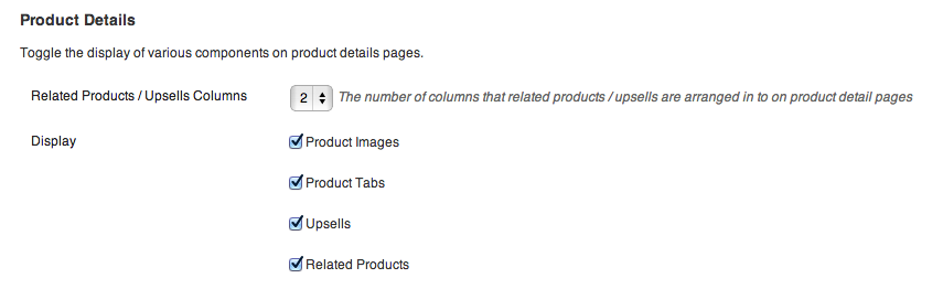 The Product Details Customiser Settings.