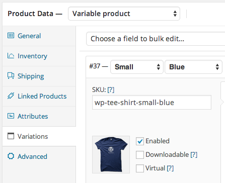 Automatic variation SKUs based on attributes (if enabled)