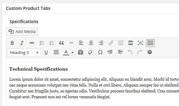 Tab content in Product editing page