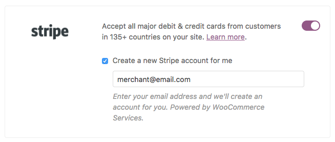 Creating a Stripe account from the setup wizard