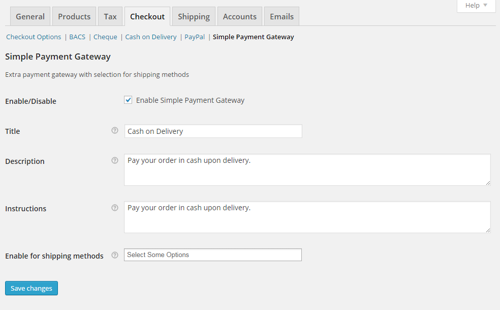Simple Payment Gateway settings page