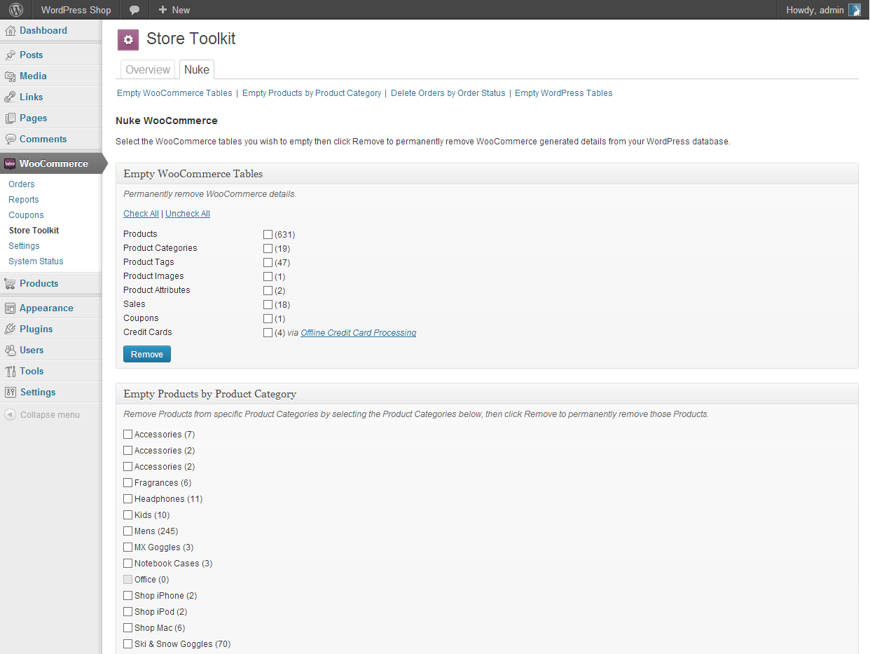 The Nuke WooCommerce screen with 'nuke' options.