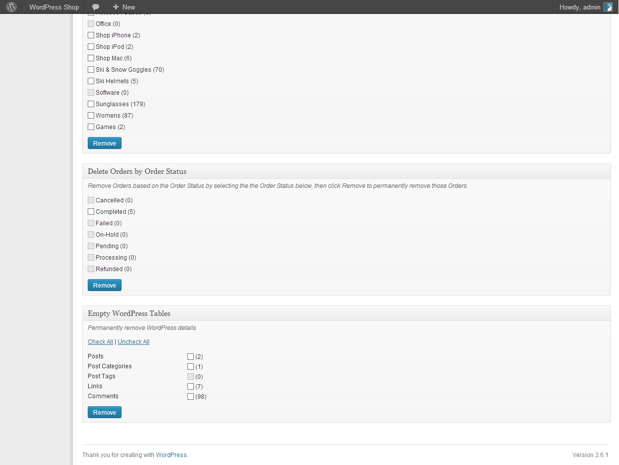 Additional 'nuke' options for WordPress details.